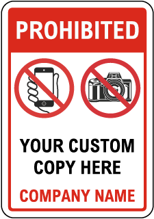 Custom No Electronics Sign with Red Header and Border