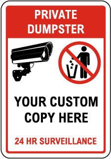 Custom No Dumping Sign with Red Header and Border