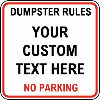 Custom Dumpster Square Sign Red Border