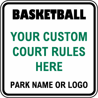 Custom Court Rules Sign White with Black Border