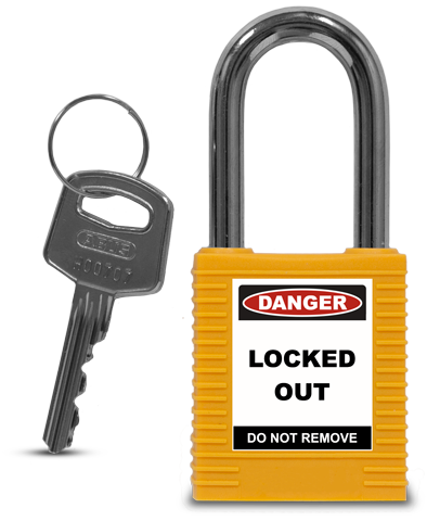 Yellow Plastic Safety Padlock