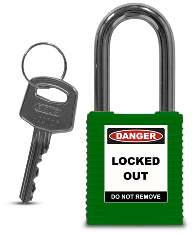 Green Plastic Safety Padlock