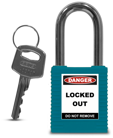 Teal Plastic Safety Padlock