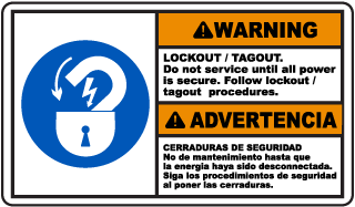 Bilingual Warning Lockout Tagout Sign