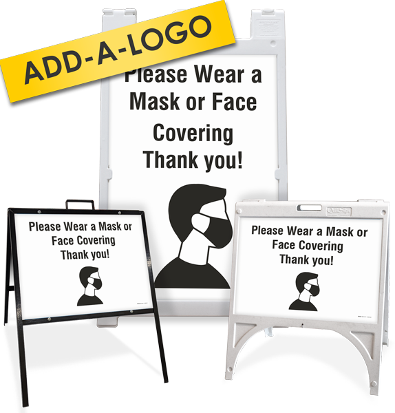 Custom Please Wear a Mask or Face Covering Sandwich Board / A-Frame Sign