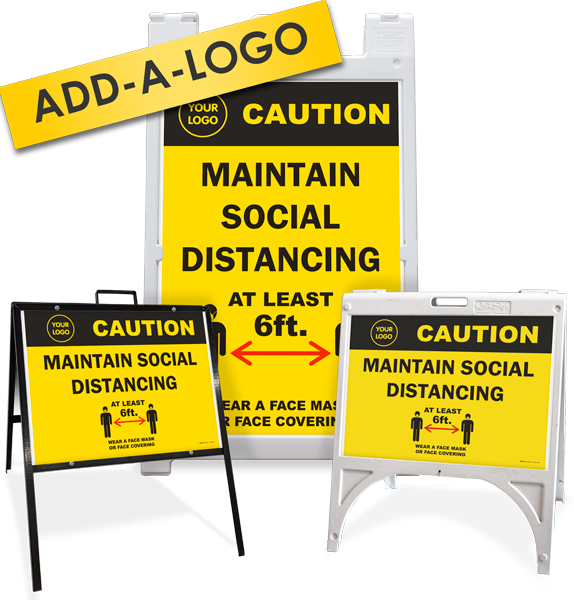 Custom Caution Maintain Social Distancing Sandwich Board / A-Frame Sign