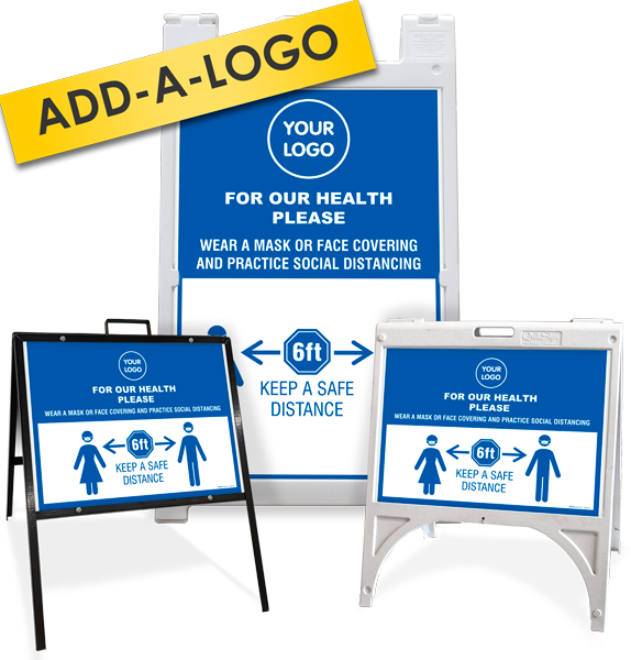 Custom For Our Health Face Mask Social Distancing Sandwich Board / A-Frame Sign