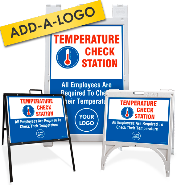 Custom Temperature Check Station Sandwich Board / A-Frame Sign