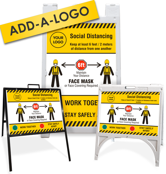 Custom Social Distancing, Face Mask Required Sandwich Board / A-Frame Sign