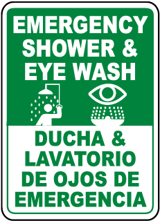 Bilingual Shower & Eye Wash Sign