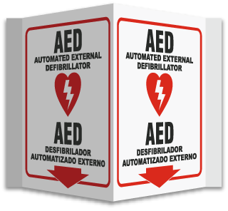 3-Way Bilingual AED Sign