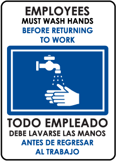 Bilingual Employees Must Wash Hands Before... Sign