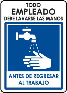 Spanish Todo Empleado Debe Lavarse Las Manos... Sign