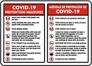Bilingual COVID-19 Prevention Measures Sign
