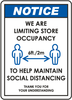 We Are Limiting Store Occupancy Sign