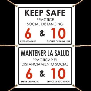 Bilingual Keep Safe Practice Social Distancing Banner