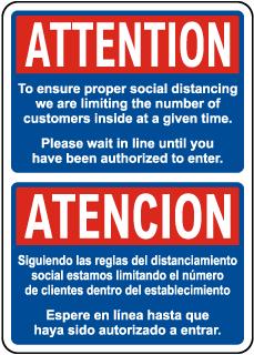Bilingual Ensure Proper Social Distancing Sign