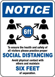 Social Distancing Notice Sign