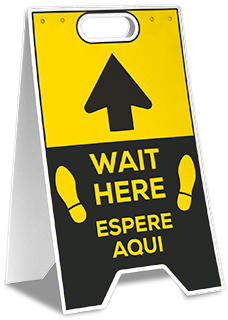 Bilingual Wait Here Floor Stand