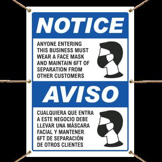 Bilingual Wear a Face Mask Banner