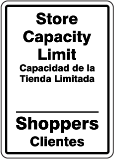 Bilingual Store Capacity Limit Sign