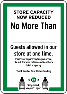 Store Capacity Now Reduced Sign
