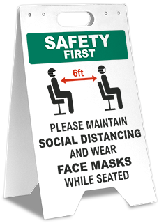 Safety First Maintain Social Distancing Wear Face Masks Floor Stand