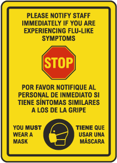 Bilingual Stop Notify Staff Wear Mask Sign