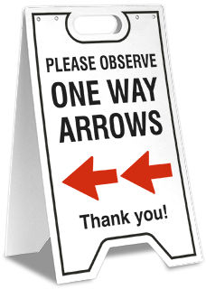 One Way Left Arrow Floor Stand