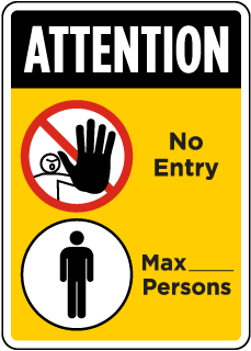 Attention, Number of Persons Max Sign