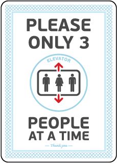 Elevator 3 People At a Time Sign