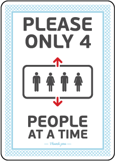 Elevator 4 People At a Time Sign