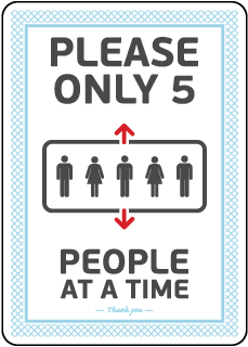 Elevator 5 People At a Time Sign