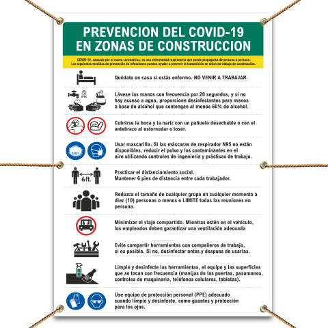 Spanish Job Site COVID-19 Prevention Measures Banner