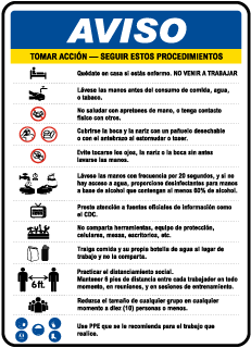 Spanish Notice Infection Control Construction Sign