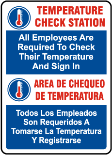 Bilingual Temperature Check Station Sign