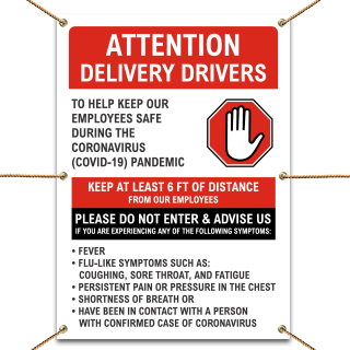 Attention Delivery Drivers Infection Control Banner