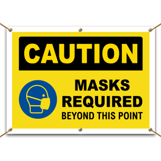 Caution Masks Required Beyond This Point Banner