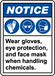 Notice Wear Gloves, Eye Protection, And Face Mask Sign