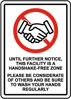 No Handshake Sign