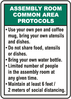 Assembly Room Common Area Protocols Sign