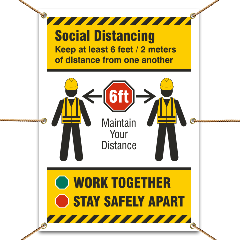 Social Distancing Construction Banner