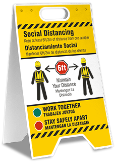 Bilingual Social Distancing Construction Floor Stand