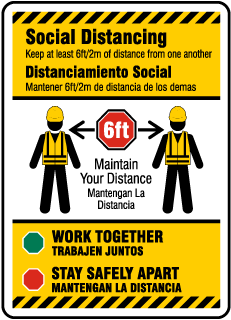 Bilingual Social Distancing Construction Sign