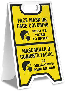 Bilingual Face Mask Covering Floor Stand