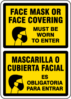 Bilingual Face Mask Covering Sign