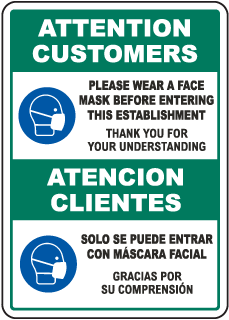 Bilingual Attention Customers Wear Face Mask Before Entering Sign