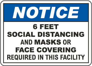 Notice Social Distancing Face Masks Or Covering Required Sign