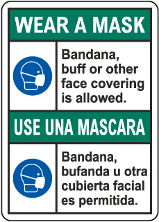 Bilingual Wear A Mask Sign