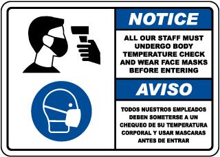 Bilingual Notice Staff Temperature Check Sign